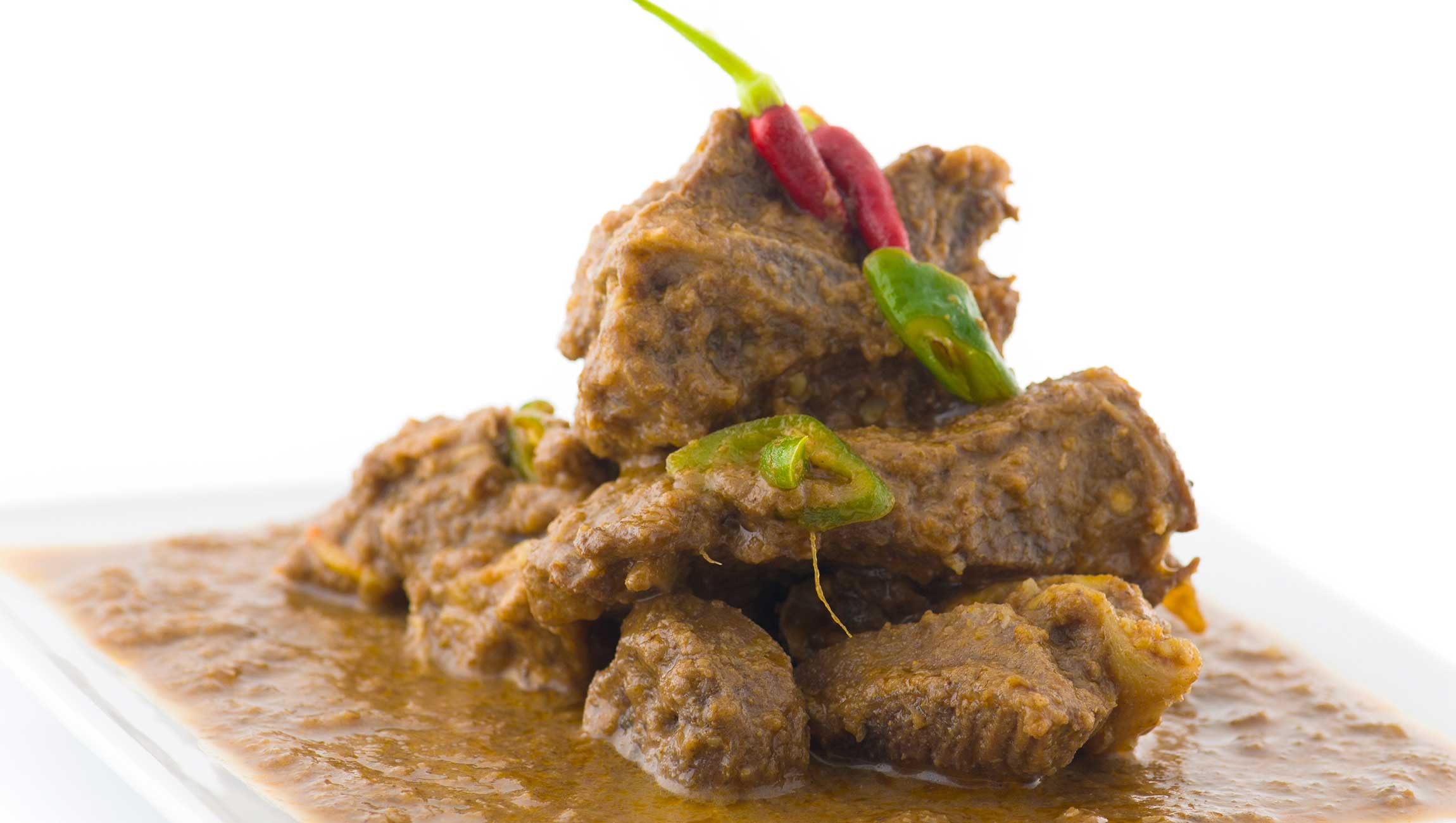 Indian cusisine lamb dish with chilli pepper